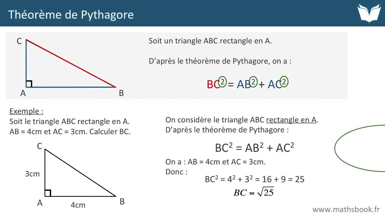 Théorème de Pythagore - Cours de maths - YouTube