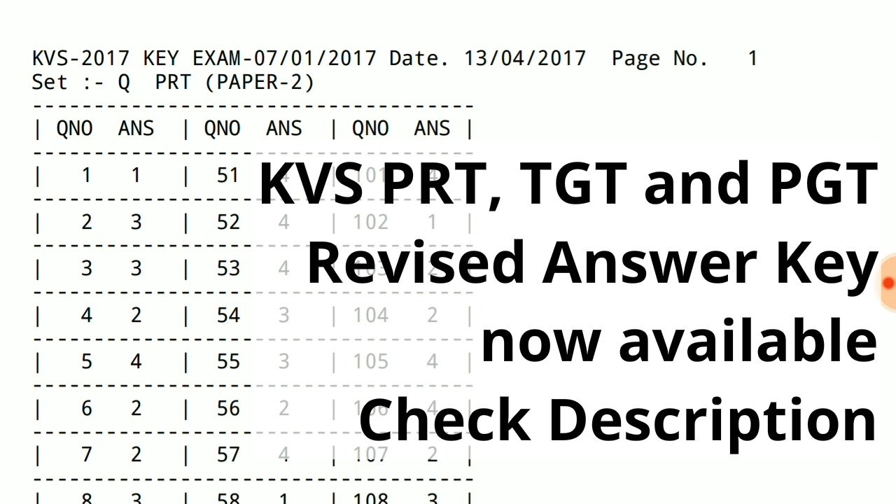 kvs prt tgt and pgt revised final answer key 2017 kvs 2017 youtube
