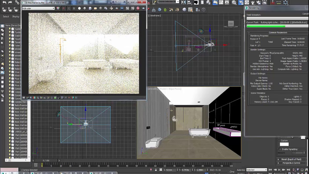 how to set up a camera and render in 3ds max