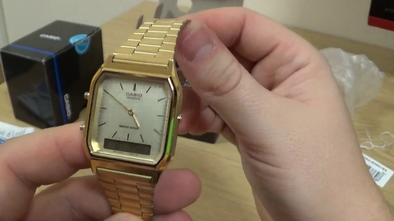 386449c5d6f1 CASIO Unisex Gold Tone Combi Watch AQ-230GA-9DMQYES Unboxing And Review