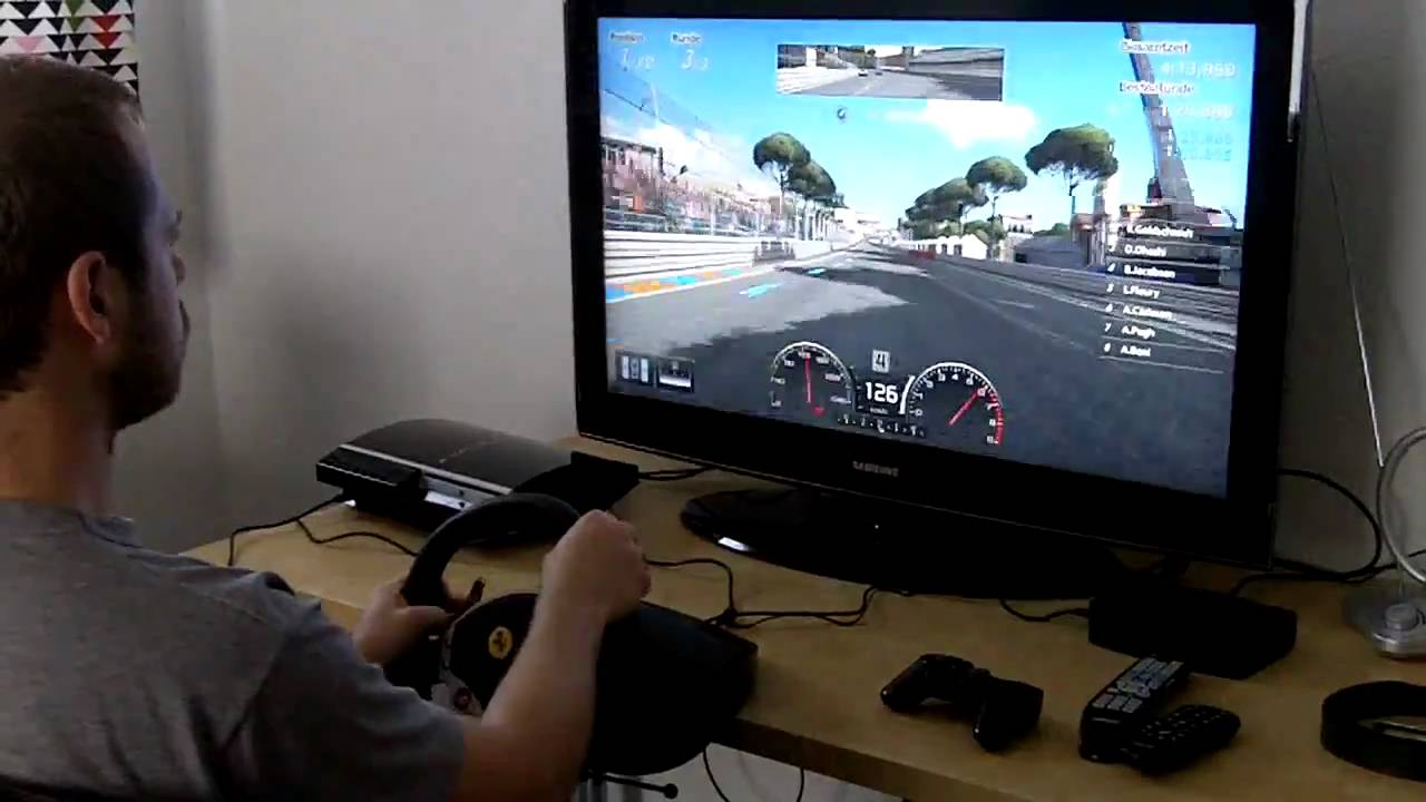 Playing Gt5 With A Thrustmaster F430 Driving Wheel Doovi