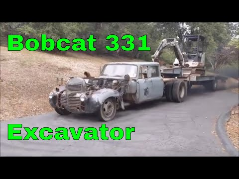 Bobcat 331 Excavator, Cutting Into A Hill For Parking, Coolest Tow Rig Ever