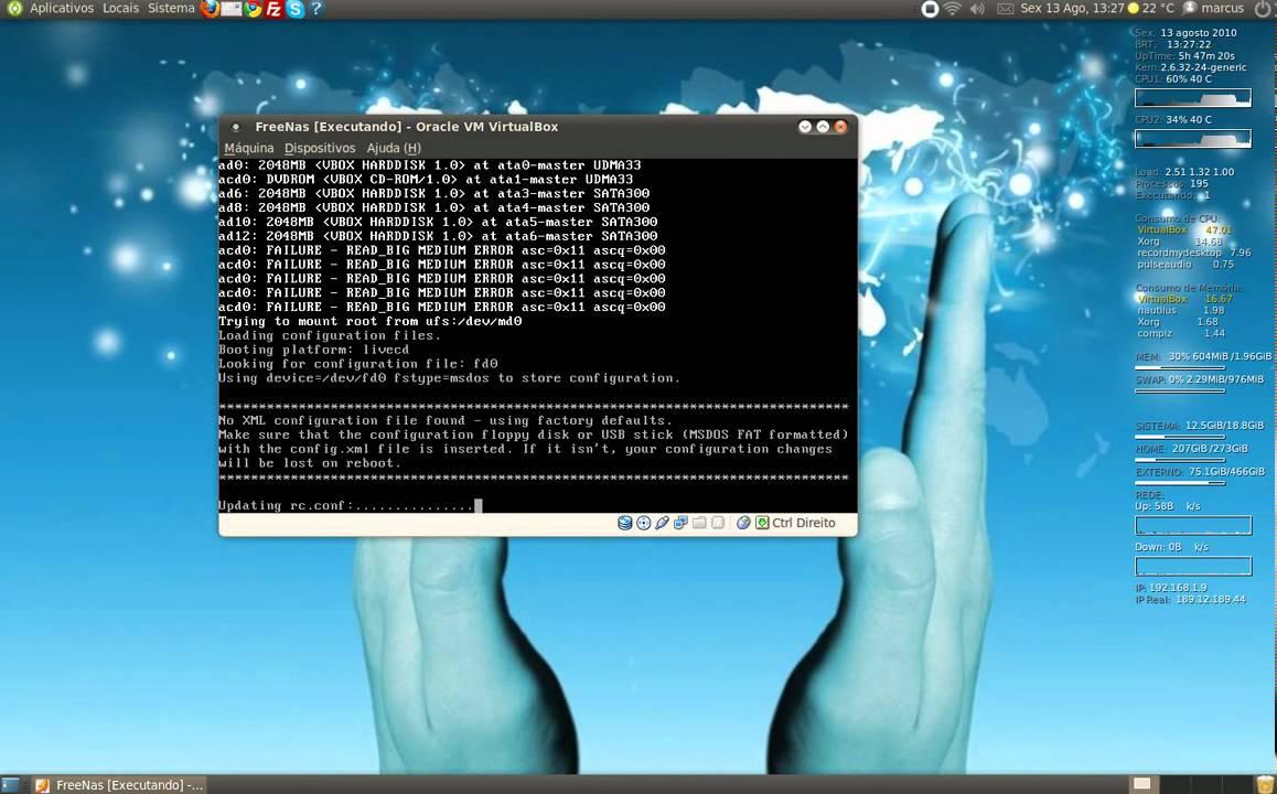 Instalação do FreeNAS no HD