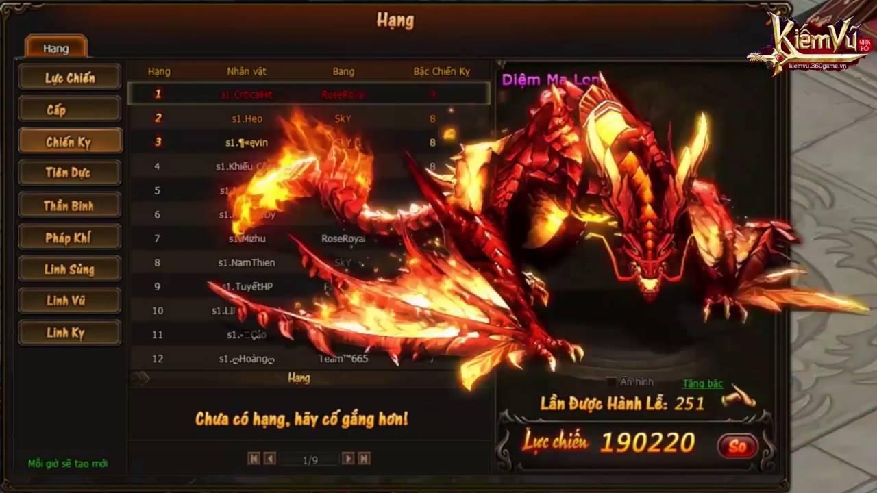 [ 360Game.vn ] Kiếm Vũ - Top 1 Server 1 - YouTube