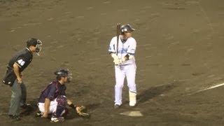 2013/9/10 宮崎敏郎 (横浜DeNAベイスターズ) 打撃フォーム 二塁打