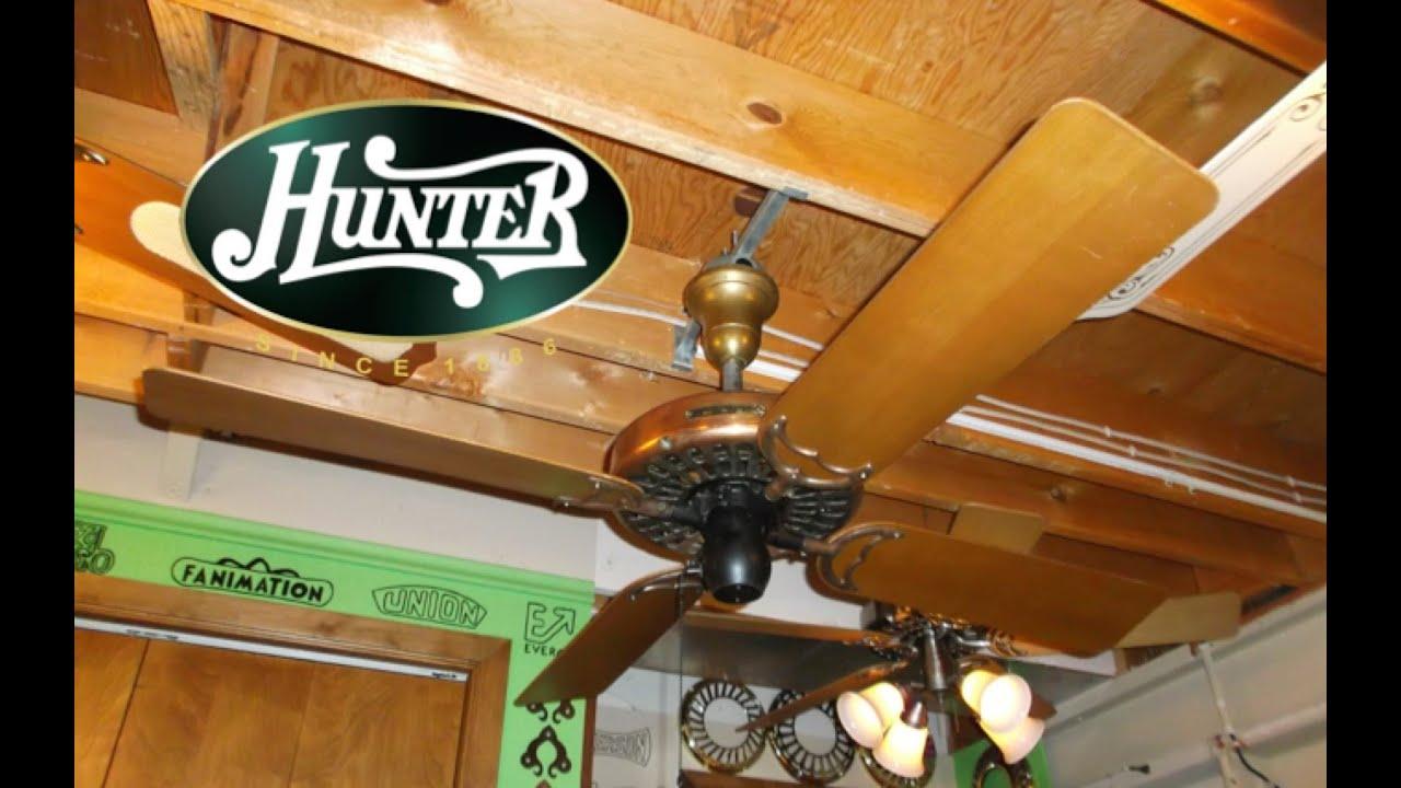 Hunter Fan Amp Motor Co Type 52 Antique Ceiling Fan Youtube
