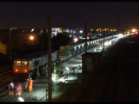 Balfour Beatty track laying machine and Lafarge Self Discharge Train  Track replacement at New Engla