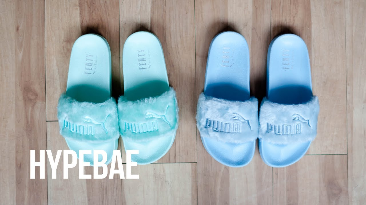Fenty PUMA by Rihanna Summer Fur Slides Unboxing - YouTube 530e5ecb7