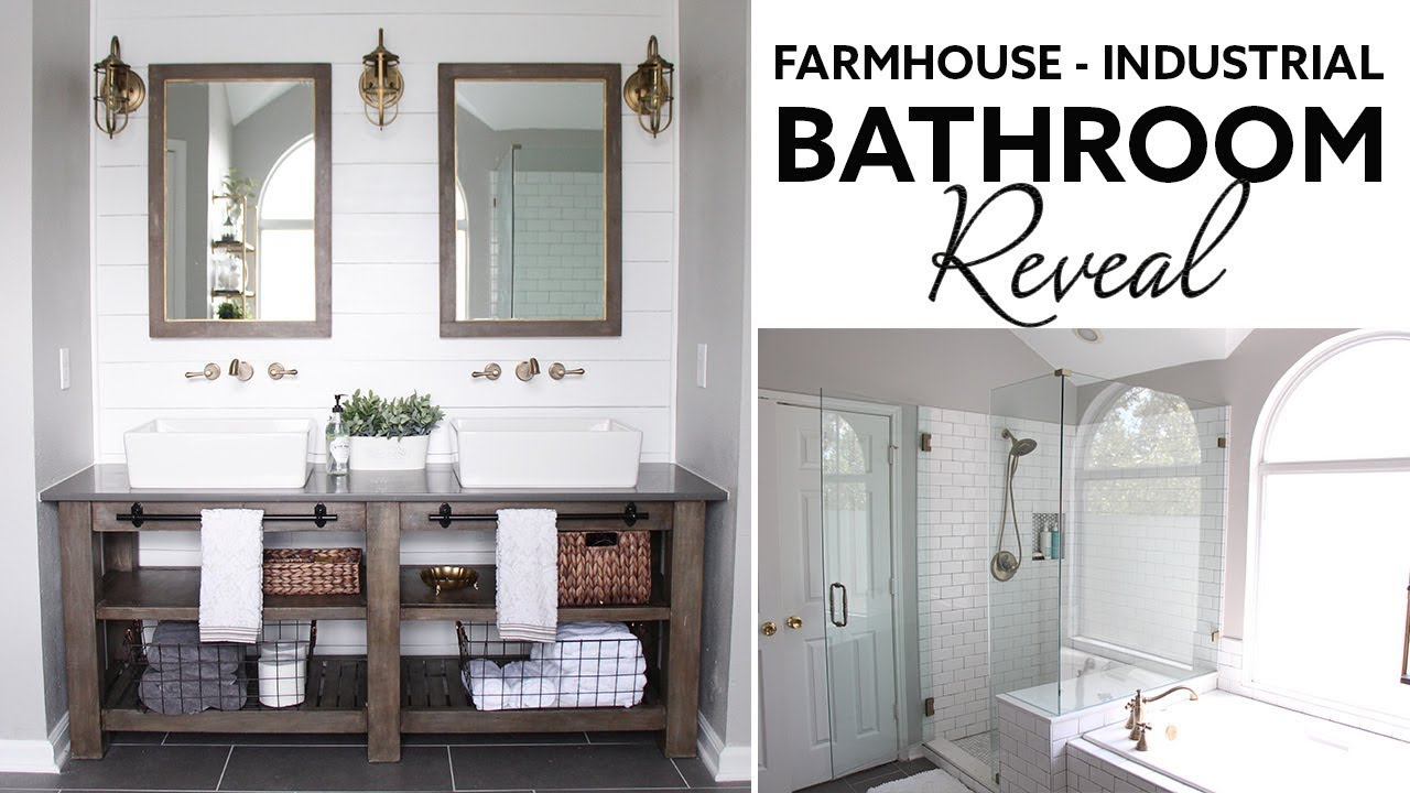 Farmhouse | Industrial Master Bathroom Reveal - (Husband- Voiceover ...