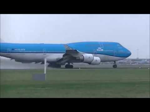Arrival & Takeoff in Storm (more strong breeze)8 januari-'19 @AMS -Schiphol