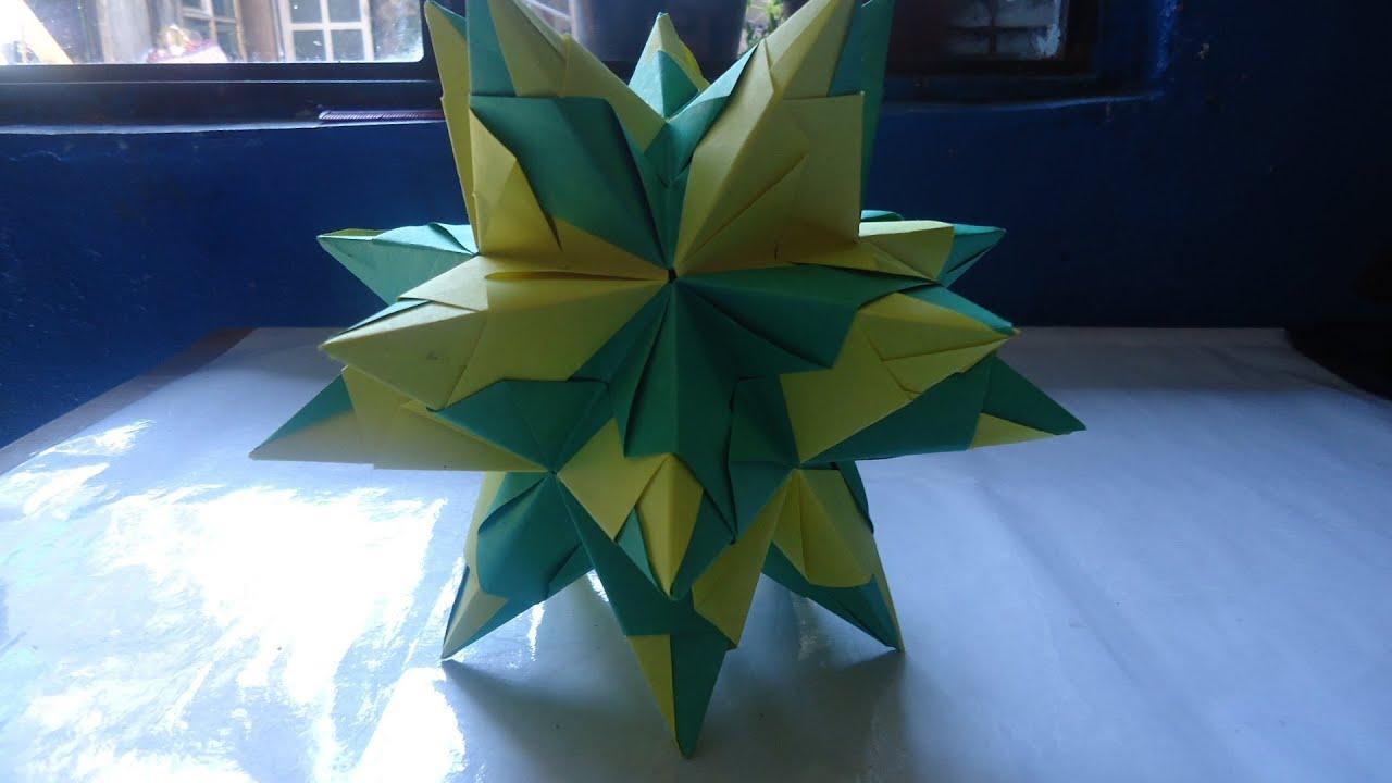 Como hacer una estrella de 20 picos youtube - Origami de una estrella ...