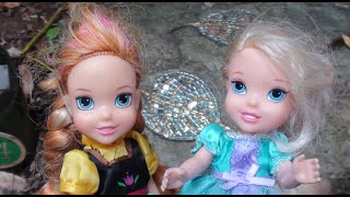 Anina and Elsia toddlers follow the children's trail at the Park - petite dolls and toys