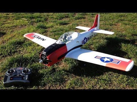 Parkzone T-28 Trojan Parkflyer with Navy Paint Scheme Flying Around in Berry Fields
