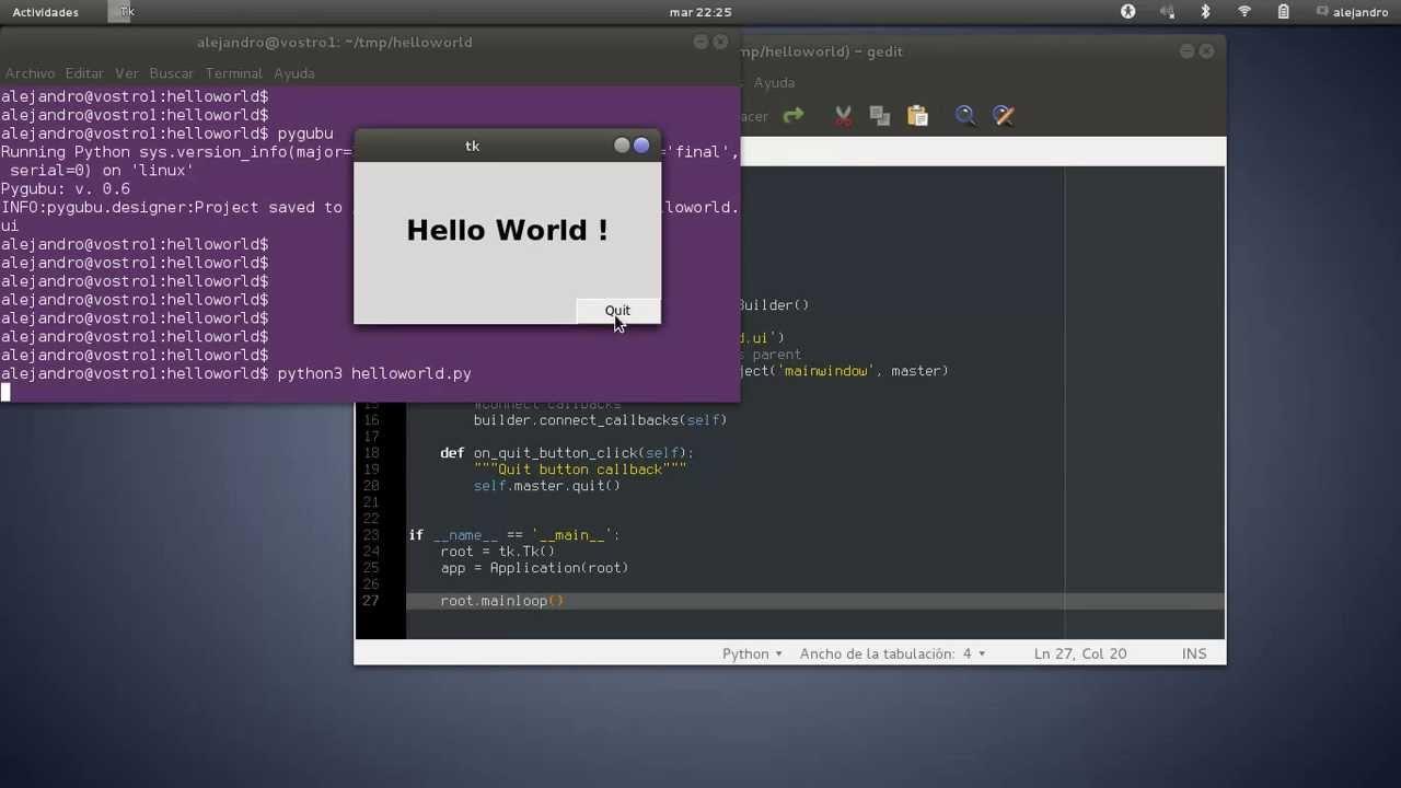 Pygubu hello world program