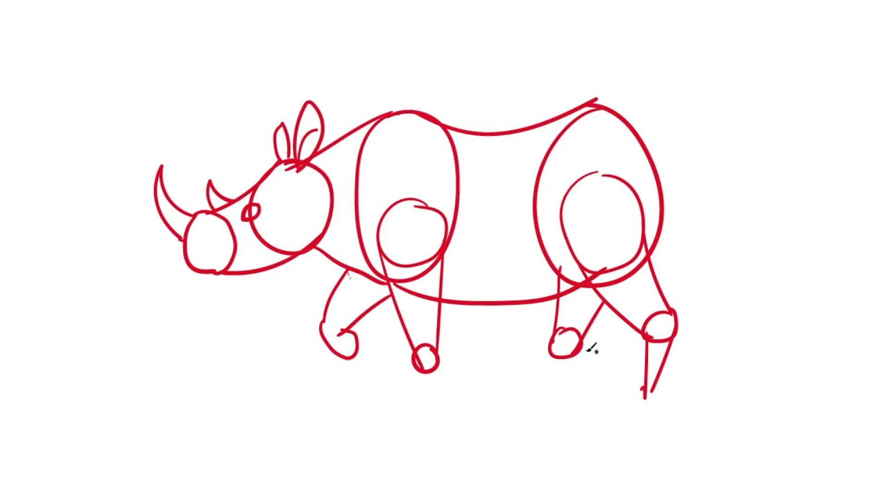 05 learn how to draw a rhino the easy way for kids youtube