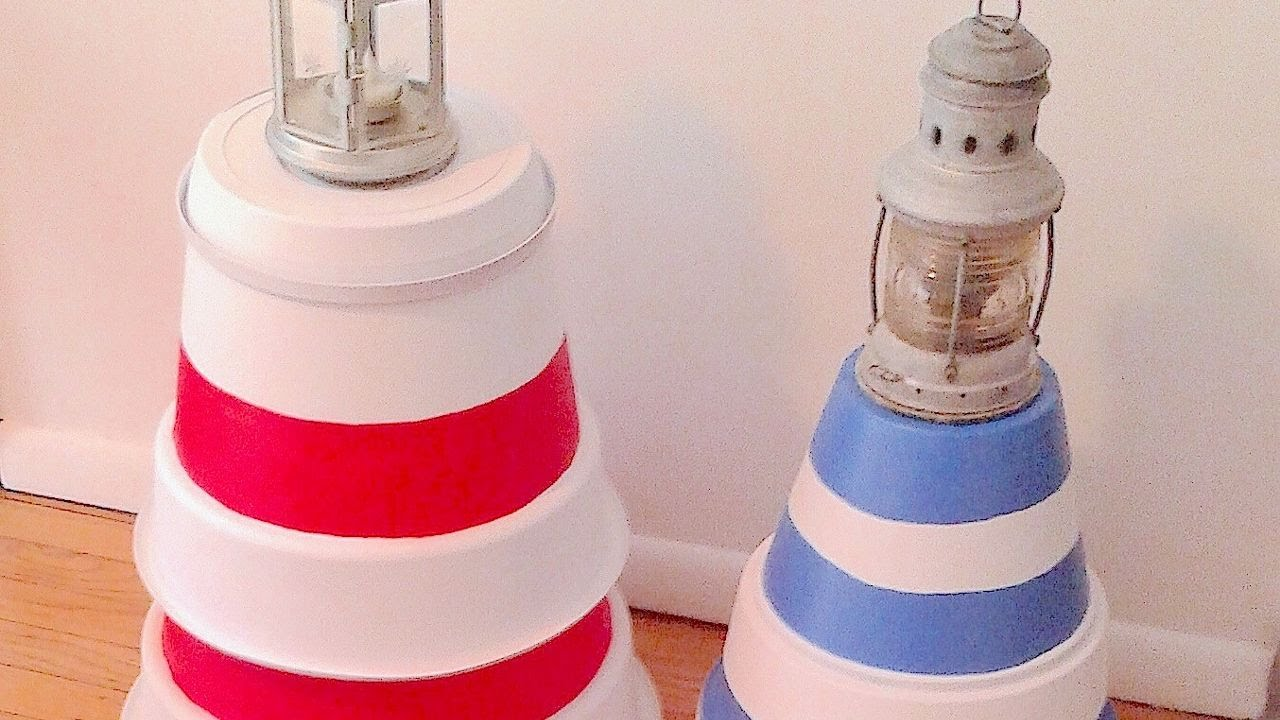 Diy make a clay pot lighthouse diy craft projects - How To Make A Lighthouse With Recycled Flower Pots Diy Home Tutorial Guidecentral Youtube