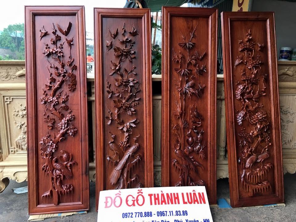 tranh tứ quý gỗ mít Tranh Tứ Quý Gỗ Hương  Kênh Bong (Tùng Cúc Trúc Mai)Đồ Gỗ Thành  tranh tứ quý gỗ mít