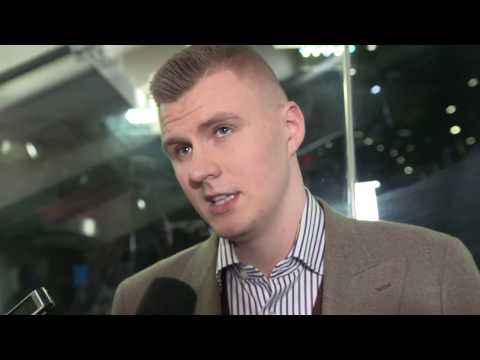 Knicks' Kristaps Porzingis speaks with media for first time since injury.