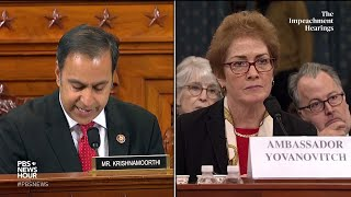 WATCH: Rep. Raja Krishnamoorthi's full questioning of Amb. Yovanovitch | Trump impeachment hearings