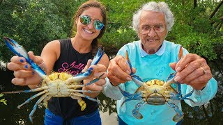 CRABBING with 88 YEAR Old Grandma!! CATCH Clean & COOK Blue Claw Crabs!