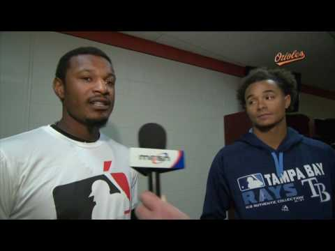 Adam Jones and Chris Archer work with Boys & Girls Clubs of America