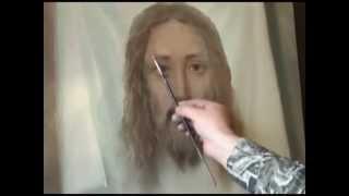 Игорь Сахаров пишет образ Иисуса Христа