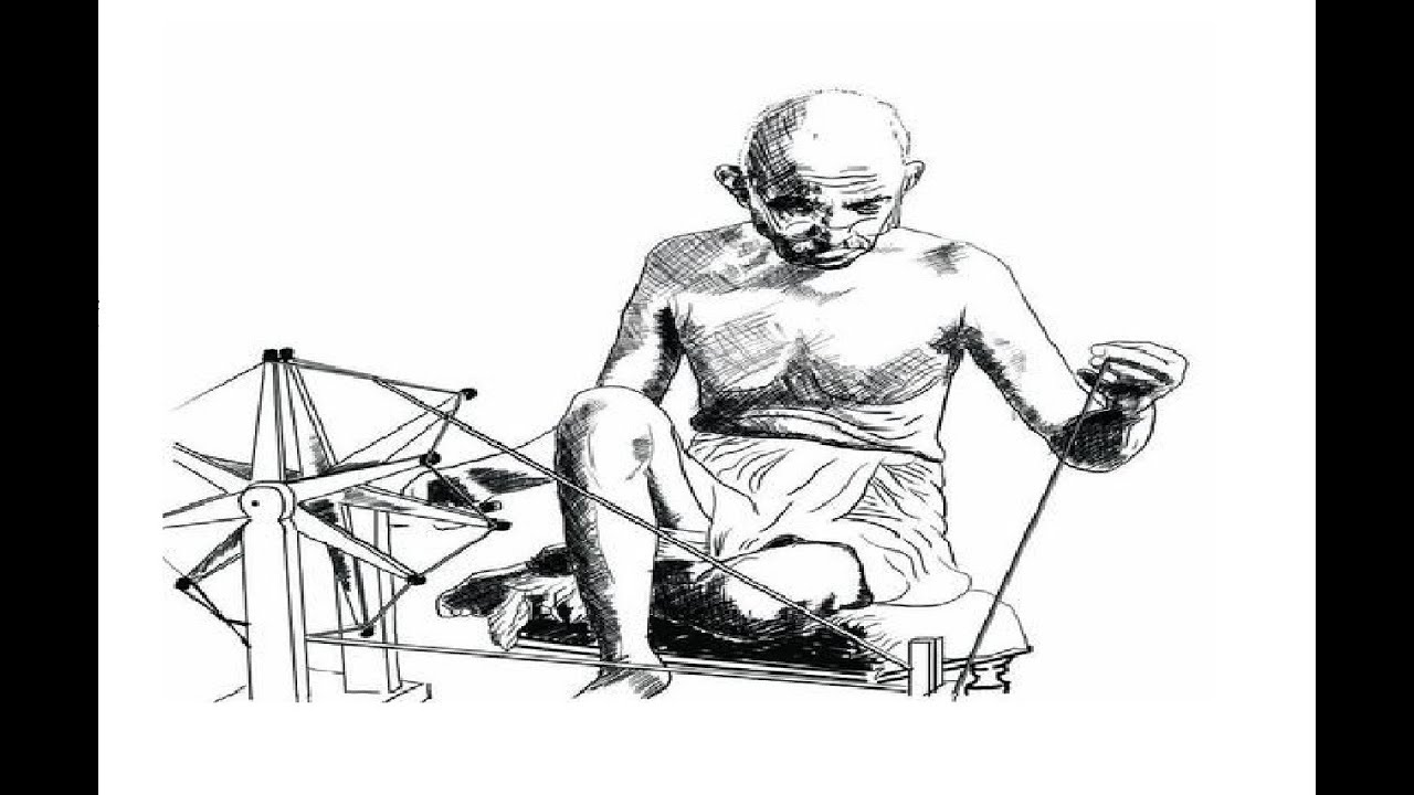 How to draw mahatma gandhi drawing with charkha on gandhi jayanti