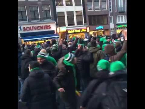 Panathinaikos Fans in Amsterdam Dam Square. Ajax vs Panathinaikos Europa league