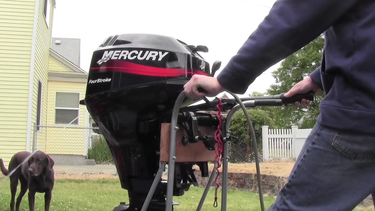 2003 15hp mercury four stroke short shaft cold start youtube for 4 horse boat motor