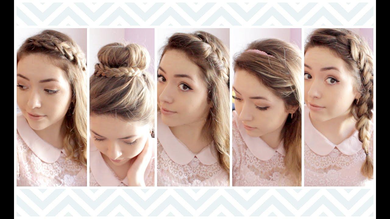 5 peinados para la escuela trabajo fiestas ekaty youtube - Peinados de fiesta ...