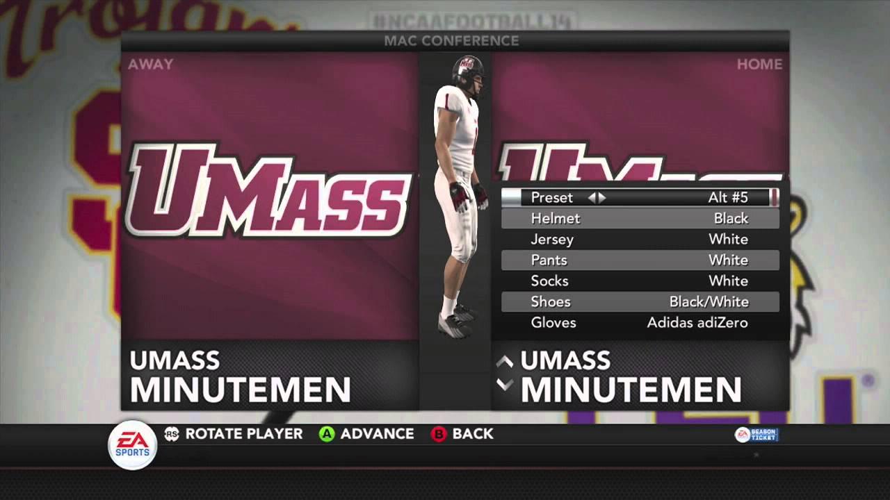NCAA Football 14: U Mass Minutemen Uniform Sets