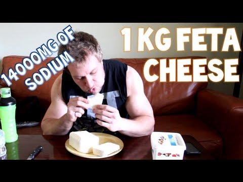 One Man. One Kilogram (2.2 lbs) of Feta Cheese