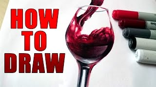 How to draw a realistic Glass of Wine [Tutorial]