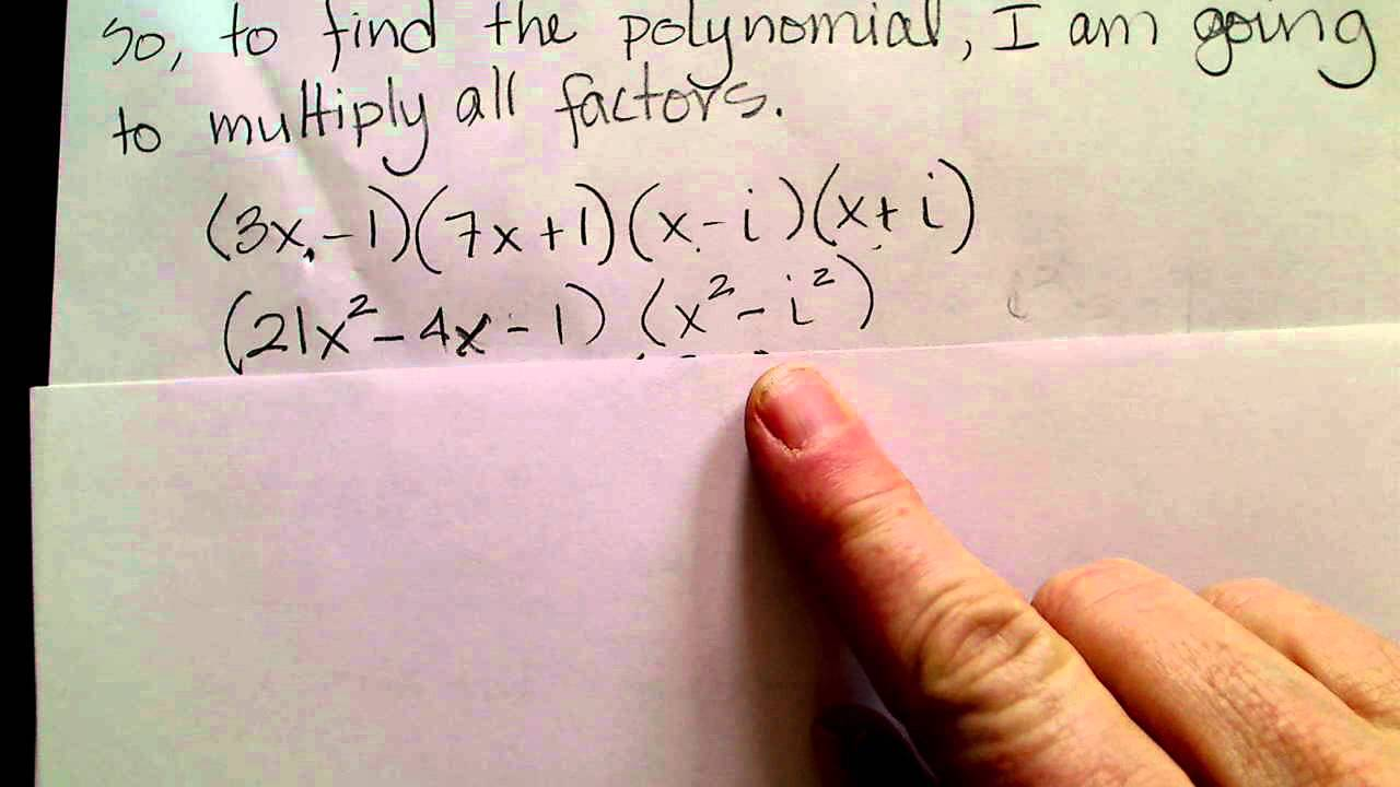 Find a polynomial given zeros youtube find a polynomial given zeros falaconquin