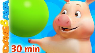 🐽 Color Song - This Little Piggy and More Nursery Rhymes | Learn Colors with Dave and Ava 🐽