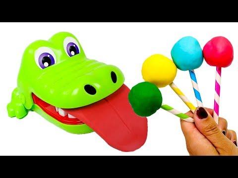 🐊 COCODRILO SACAMUELAS 🐊 Cocodrilo come caramelos de colores y le crece la lengua   Videos niños