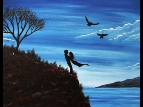 acrylic painting on canvas easy simple couple in love youtube