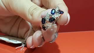 Обзор ювелирных украшений 585GOLD. Кольцо из белого золота с сапфирами и бриллиантами