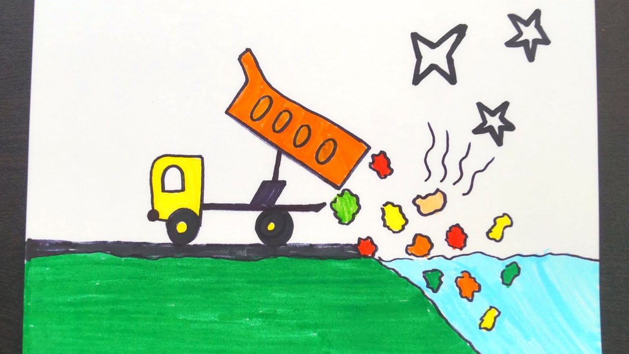 Water Pollution Drawing || Stop Water Pollution Poster ...