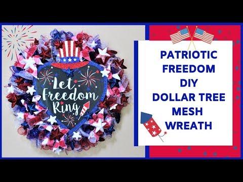 Patriotic Red | White | Blue Freedom DIY Dollar Tree Mesh Wreath