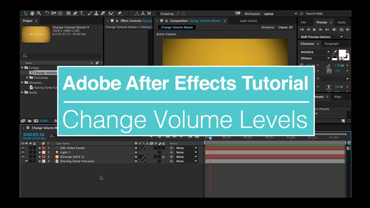EVF Tutorial – Change Volume Levels in Adobe After Effects