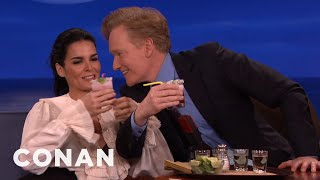 Angie Harmon Does Tequila Shots With Jeff Goldblum & Conan