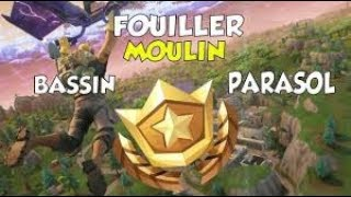 THE SECRETE QUEST OF THE WEEK 2 OF FORTNITE!! (BASSIN, MOULIN, PARASOL)