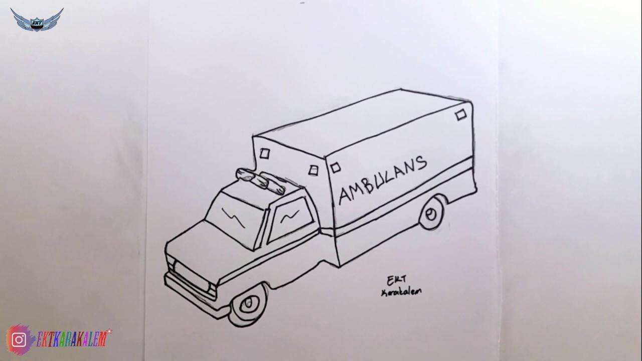 Kolay Ve Basit Ambulans Resmi Cizimi Youtube