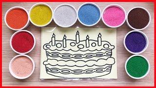 Đồ chơi trẻ em TÔ MÀU TRANH CÁT bánh gato mừng sinh nhật - Colored Sand Painting (Chim Xinh)