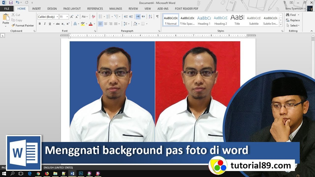 Cara Mengganti Background Pas Foto Dengan Microsoft Word Youtube