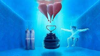 Сколько гелиевых шариков поднимет 100кг железа под водой?