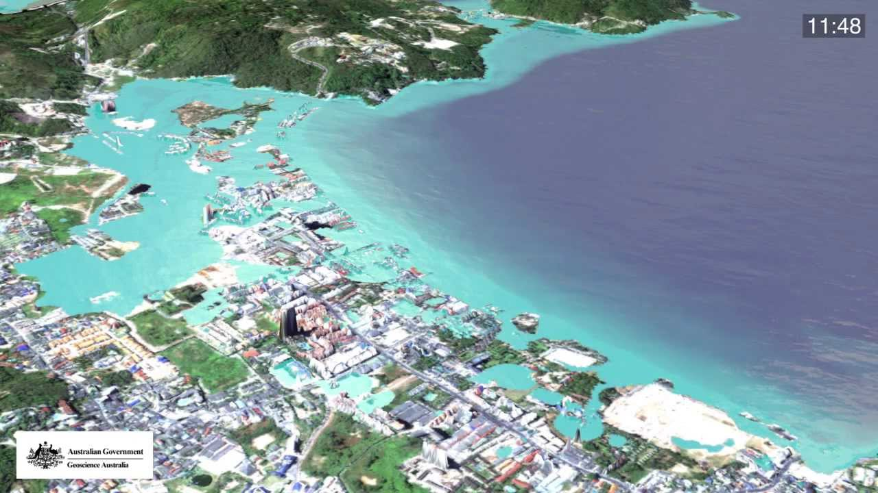 Simulation of 2004 Boxing Day tsunami - Patong beach