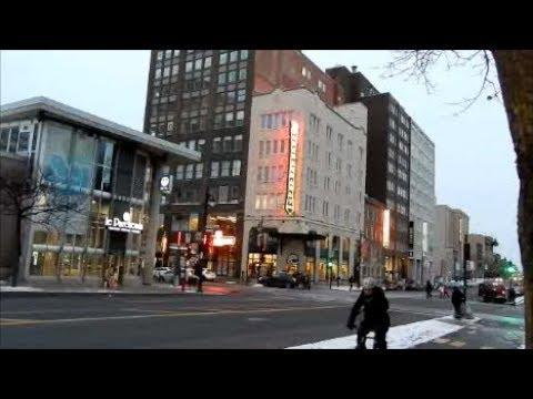 WALKING RUE BERRI STREET IN DOWNTOWN MONTREAL