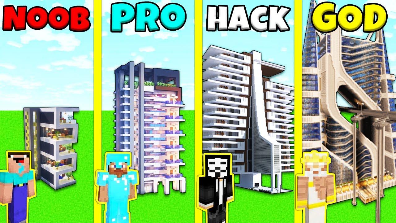 Minecraft Battle: HOTEL BUILD HOUSE CHALLENGE - NOOB vs PRO vs HACKER vs GOD / Animation